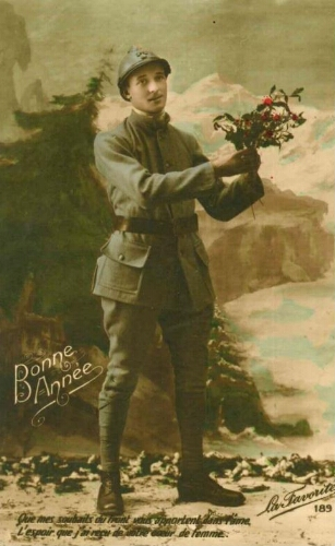 Carte postale poilu illustration patriotique